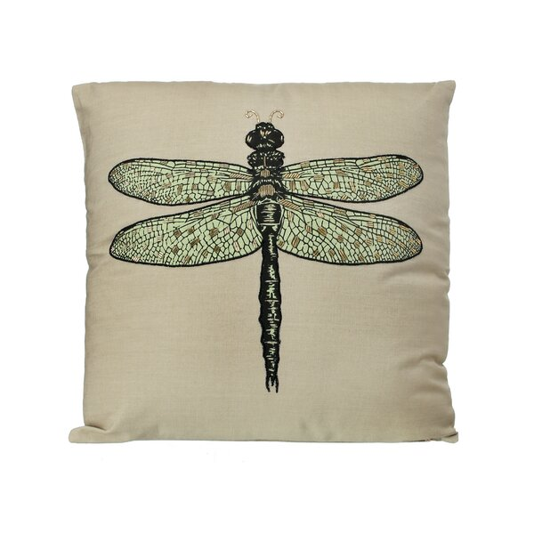 Pavillion Dragonfly Embroidered 100% Cotton Throw Pillow by Ophelia & Co.